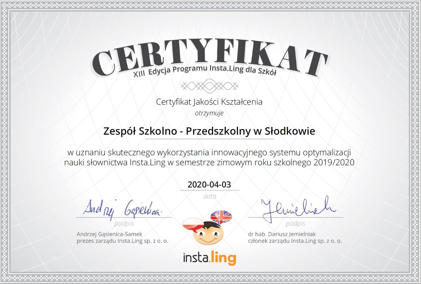 Certyfikat za udział w Programie Insta.Ling.