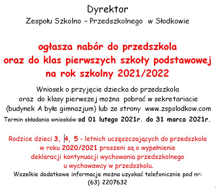 plakat nabór do szkoły 2021/2022