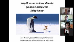 Lekcja geografii w klasie VIII w ramach współpracy z UAM w Poznaniu.