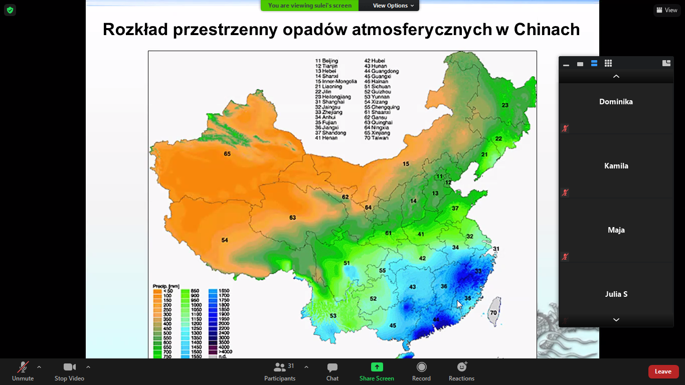 Lekcja geografii dla klasy VIII w ramach współpracy szkoły z UAM w Poznaniu.